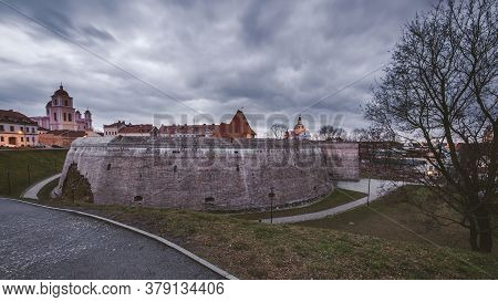 Panorama Of Vilnius  City Of Lithuania, View Of The Fortified Wall Of The Bastion And City center