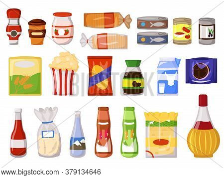 Snack Pack. Fastfood, Canned Food Dairy Drink, Sauce, Instant Coffee, Flour, Bread In Packet, Bag, B