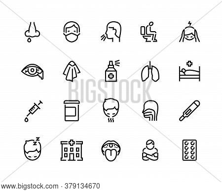 Flu Line Icons. Pneumonia And Cold Symptoms Such As Sneeze, Cough, Diarrhea And Headache, Outline He