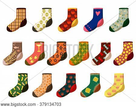 Cartoon Socks. Different Woolen, Textile And Cotton Feet Wear With Holiday Pattern And Texture. Sock