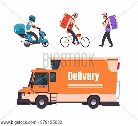 Delivery Service. Cartoon Walking Courier, On Bicycle, Scooter And Car, Online Food And Goods Delive