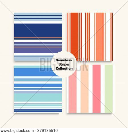 Sailor Stripes Seamless Texture Set. Swimming Suit Lines Autumn Spring Elegant Fashion Textile. Vint