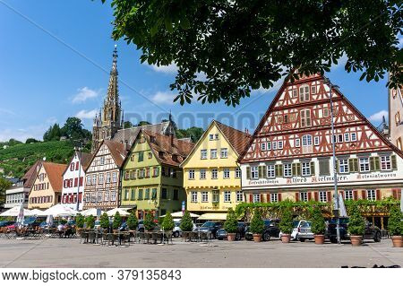 View Of The Market Square And Traditional Half-timbered Houses In Esslingen