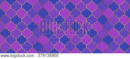 Moroccan Seamless Mosaic Design. Eid Mubarak Muslim Decoration. Turkish Mosque Window Grid. Seamless