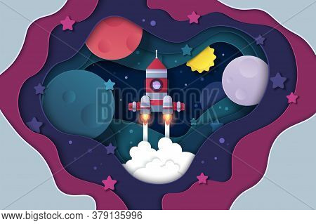 Paper Cut Universe. Cartoon Cutout Space Background With Stars Planets And Rocket, Start Up And Trav