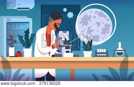 Scientist In Lab. Cartoon Concept Of Laboratory Research, Scientific Experiment And Medical Data Col