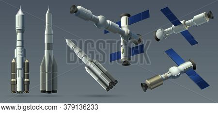 Space Rockets. Realistic 3d Spaceships And Space Stations Collection, Automatic Satellite And Interp