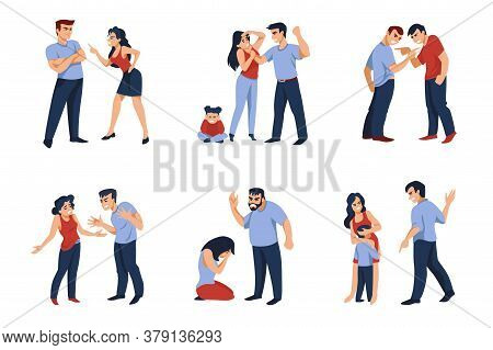 Couples Conflict. Cartoon Angry Men And Women Characters During Conflict, Fighting And Shouting. Vec