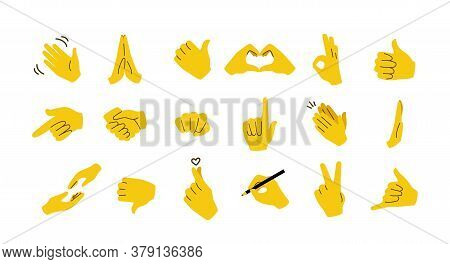 Hand Emoticons. Yellow Arms And Fists With Gestures Of Open Palm, Prey, Like Or Dislike, Victory And