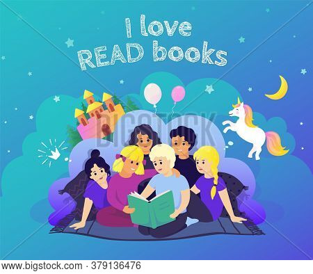 Children Reading Concept. Hand Drawn Image Kids Characters Reading Book And Imagine Adventures. Vect