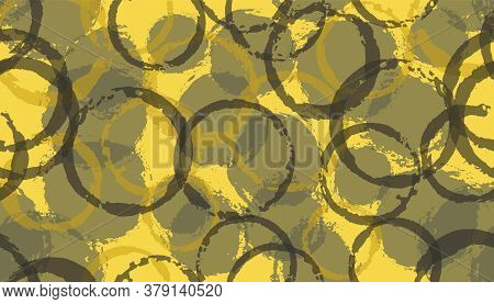 Unique Watercolor Circles Geometry Fabric Print. Circular Blob Overlapping Elements Vector Seamless