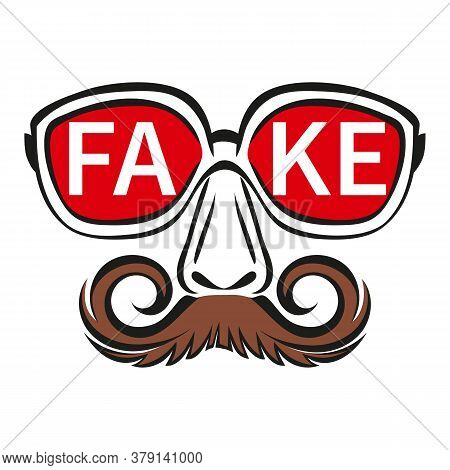 Fake Mask With Glasses And Mustache Icon. Person Hiding True Face. Сoncept Incognito, Spreading Fals