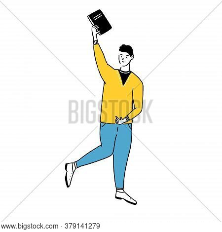 Happy Young Man Holding Book In Raised Hand. Vector Doodle Student In Yellow Sweater And Blue Jeans.