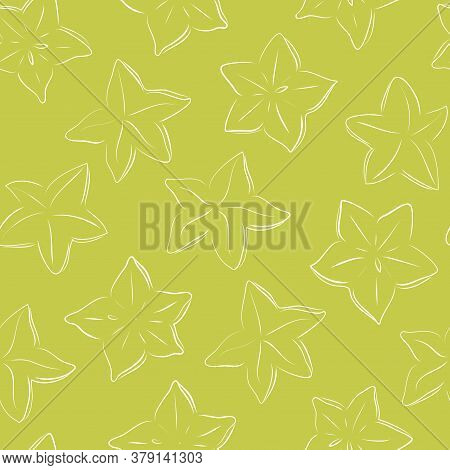 Seamless Pettern With Star Fruit Carambola Isolated On Green Background. Illustration Of Tropical Pl