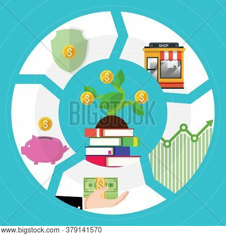 Financial Literacy Course Concept. Design By The Books For Wealth Growth By Knowledge Of Cash Reserv