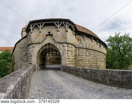 Rothenburg Ob Der Tauber, Bavaria / Germany - 23 July 2020: A View Of The Historic Spital Bastion Ci