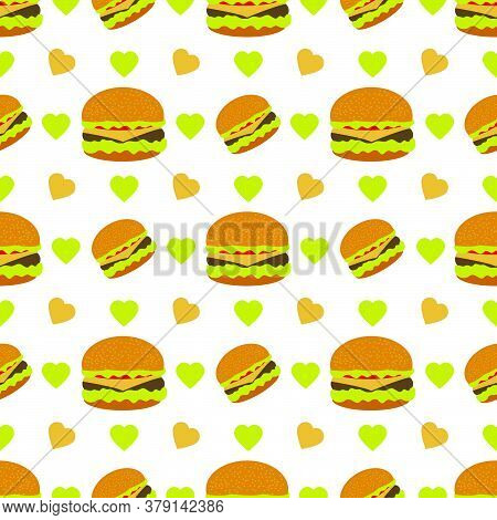 Vector Seamless Pattern Illustration Burger. Street Lunch American Takeaway Fast Food. Delicious San