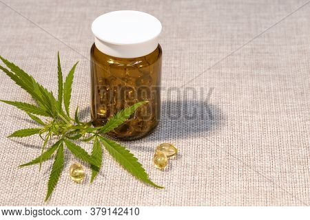 A Bottle Of Capsules Of Oil Of Medicinal Cannabis