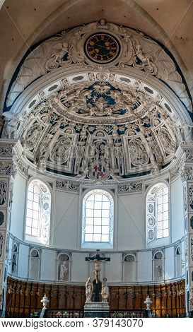 Trier, Rp / Germany - 29 July 2020: Interior View Of The Historic Trier Dom Or Cathedral In Trier Wi