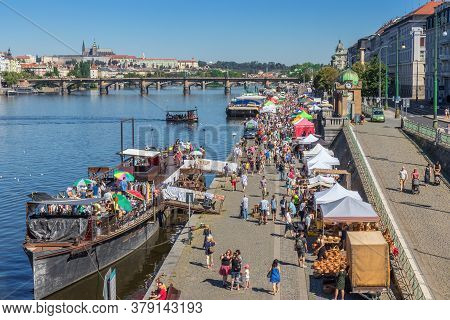 Prague - August 1st: Naplavka Farmers Street Food Market With Flea Market On The Deck Of A Boat At N