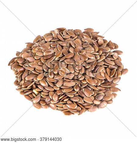 Raw Flax Seeds Stacked In A Bunch And Clipped On White Background