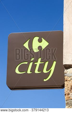 Villefranche, France - May 17, 2020: Carrefour City Logo On A Wall. Carrefour City Is A French Conve