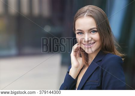 Portrait Of Happy Successful Beautiful Model, Nice Businesswoman, Young Gorgeous Girl In Suit Smilin