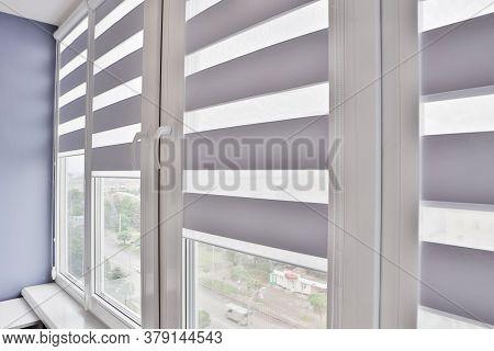 Office Blinds. Modern Jalousie. Office Meeting Room Lighting Range Control.