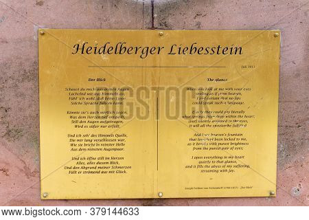 Heidelberg, Bw / Germany - 25 July 2020: View Of The Poem Annd Plaque On The Famous Liebesstein Or