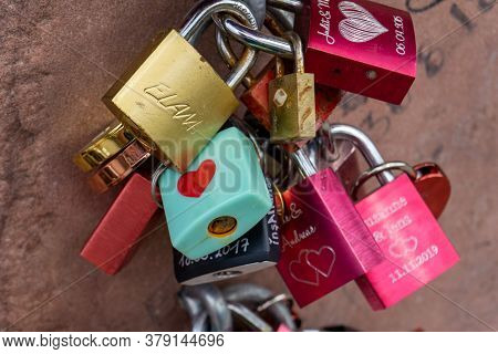 Heidelberg, Bw / Germany - 25 July 2020: Close Up Of Love Locks On The Famous Liebesstein Or