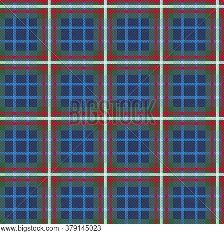 Motley Seamless Rectangular Vector Pattern As A Tartan Plaid Mainly Muted Green And Blue Hues With C
