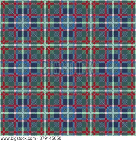 Motley Seamless Rectangular Vector Pattern As A Tartan Plaid Mainly Muted Green And Blue Hues With D