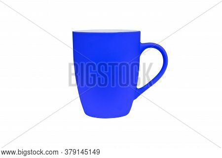 Blue Circle Isolated On A White Background. Tableware For Coffee Or Tea Drinks.