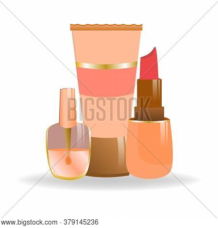 Set Of Cosmetics In Cartoon Style. Nail Polish, Lipstick And A Tube Of Cream. Decorative Cosmetics F