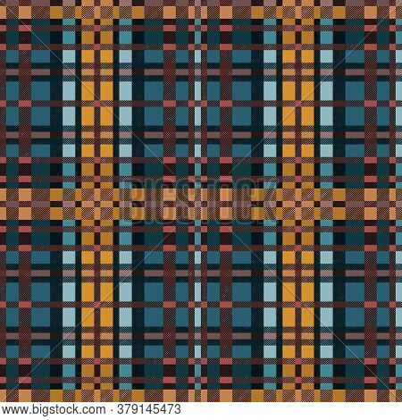 Seamless Rectangular Vector Contrast Pattern As A Tartan Plaid Mainly In Muted Blue And Light Khaki