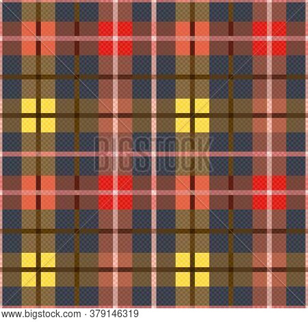 Tartan Scottish Muted Seamless Pattern In Muted Blue, Khaki, Yellow, Red And Orange Hues, Texture Fo