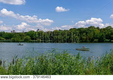 Stuttgart, Bw / Germany - 21 July 2020: Tourists Enjoy A Boat Ride On The Max-eyth Lake In Stuttgart