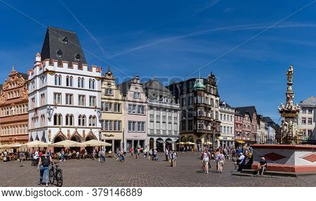 Panorama View Of The Hauptmarkt Square In The Historic Old Town Of Trier On The Mosel