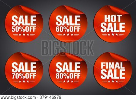 Red Sale Stickers Set 50%, 60%, 70%, 80% Off, Hot Sale, Final Sale With Stars On A Dark Background.
