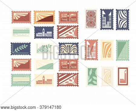 Collection Of Postal Stamps Retro Vintage Style Pictures Travel Labels And Badges Flat Vector Illust