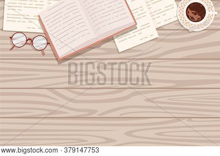 Flat Workplace Organization Top View With Wooden Texture Table Notepad Cup Eyeglasses And Open Book