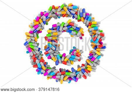 Copyright Symbol From Colored Capsules. 3d Rendering Isolated On White Background