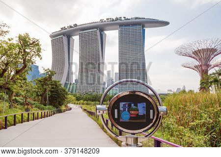 Singapore, Singapore - January 17, 2013. Panorama View On Marina Bay Sands Hotel From Gardens By The
