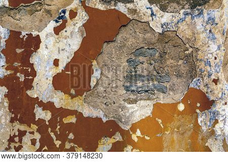 Natural Destroyed Stone Surface. Vintage Rustic Pattern. Brown Background. Old Shabby Cracked Stucco