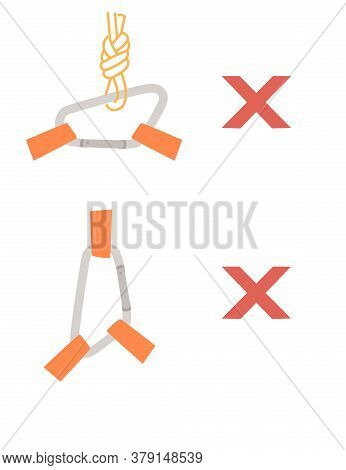 Simple Tips How To Use Metal Carabiner In Tourism Wrong Use Flat Vector Illustration Isolated On Whi