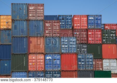 Stacked Shipping Containers At The Docks In Southampton, Hampshire In The Uk, Taken On The 10th July