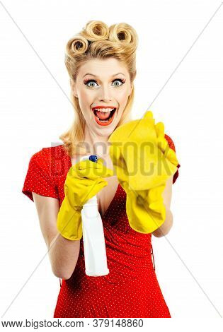 Young Housewife Enjoys In Cleaning, Cheerful Retro House Wife On White Background, Isolated. Cleanin