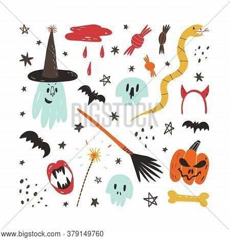 Cute Hand Drawn Halloween Elements And Characters Set. Scary Skull, Ghost In Witch Hat, Creepy Pumpk