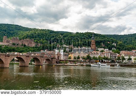 Heidelberg, Bw / Germany - 25 July 2020: View Of The Historic Old Town Of Heidelberg