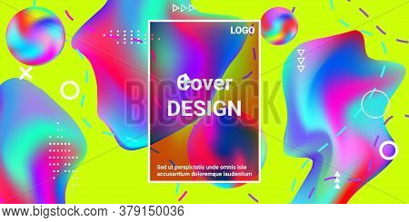 Summer Sound Poster Design Of A Music Festival.  Minimal Style Concept. Colorful Abstract Background